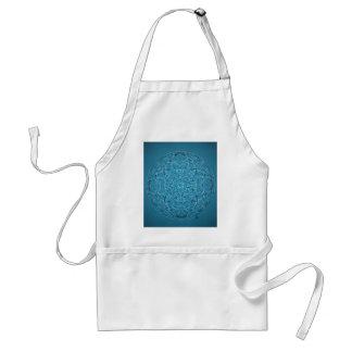 Delantal Mandala azul dibujada mano de encargo