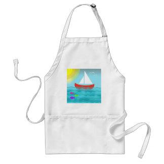 Delantal Navegación de moda náutica del mar del dibujo