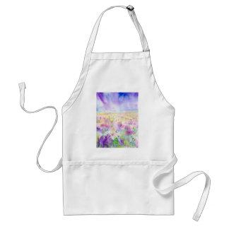 Delantal Pintura abstracta del prado del wildflower de la