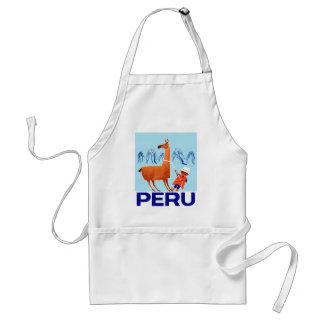 Delantal Poster del viaje de Perú del niño y de la llama