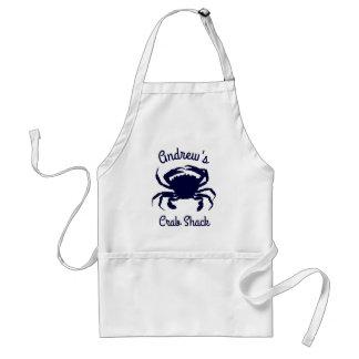 Delantal Silueta azul marino personalizada del cangrejo