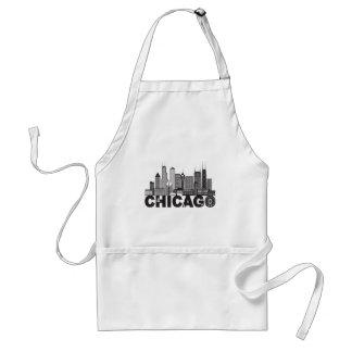 Delantal Texto del horizonte de la ciudad de Chicago blanco