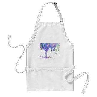 Delantal Toldo de árbol púrpura abstracto de la acuarela