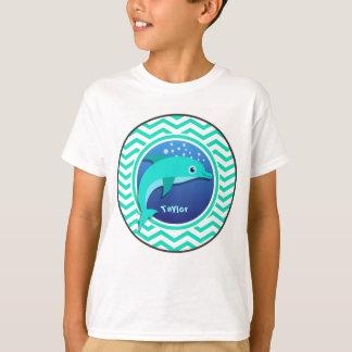 Delfín; Aguamarina Chevron verde Camiseta