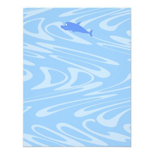 Delfín azul en modelo ondulado comunicados personales