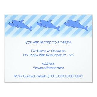 Delfín azul invitación 10,8 x 13,9 cm