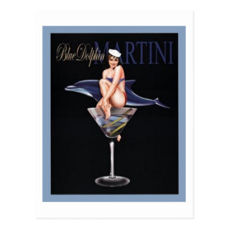 Delfín azul Martini Postal