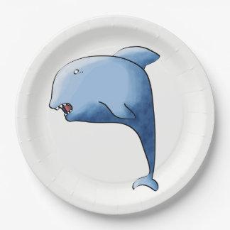 Delfín azul plato de papel