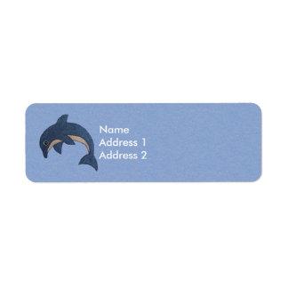 Delfín blanco azul el chispear del dibujo animado etiqueta de remitente
