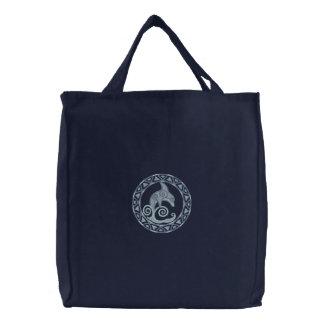 Delfín céltico bolsa de tela bordada