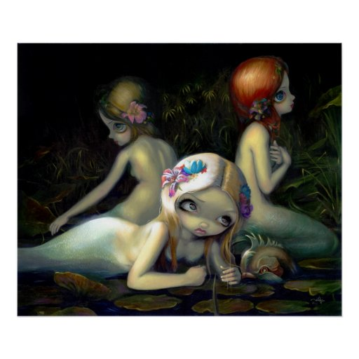 Delfín de las ninfas de la sirena de la IMPRESIÓN  Poster