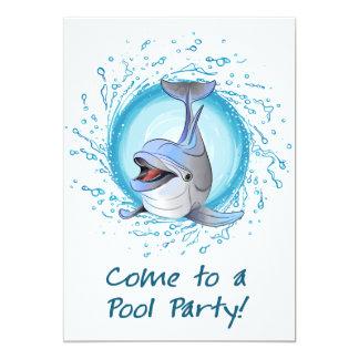 Delfín de risa en fiesta en la piscina del círculo invitación 12,7 x 17,8 cm