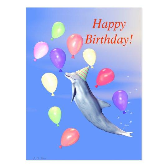 Delfín del feliz cumpleaños postal