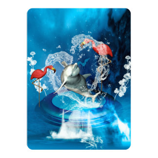 Delfín divertido que salta por un corazón invitación 13,9 x 19,0 cm