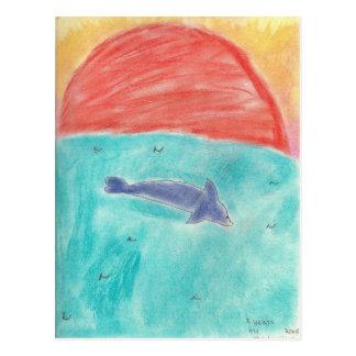 delfín en la puesta del sol de Madeleine Postal