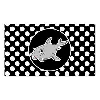 Delfín en lunares blancos y negros tarjetas de visita