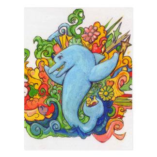 Delfín psicodélico postal