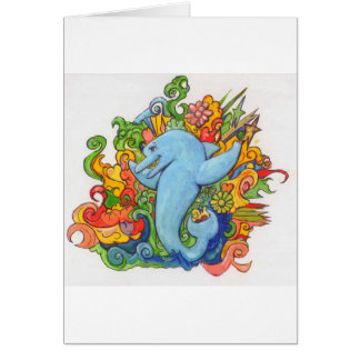 Delfín psicodélico tarjeta de felicitación
