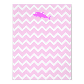 Delfín rosado invitación 10,8 x 13,9 cm