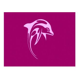 Delfín rosado tarjeta postal