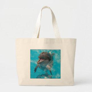 Delfín sonriente bolsa tela grande