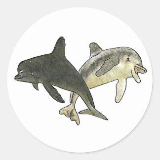 Delfínes 2 los regalos de Zazzle del MUSEO Pegatina Redonda