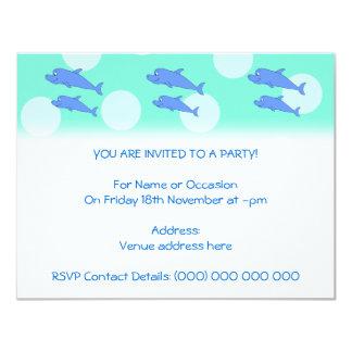 Delfínes azules invitación 10,8 x 13,9 cm