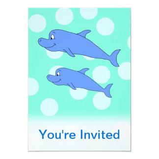 Delfínes azules invitación 12,7 x 17,8 cm