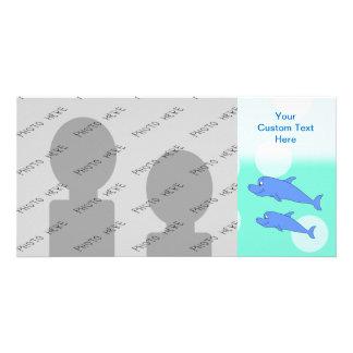 Delfínes azules plantilla para tarjeta de foto
