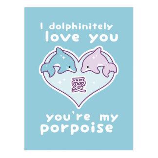 Delfínes del amor de Kawaii Postal