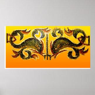 Delfínes en Mozaic Póster
