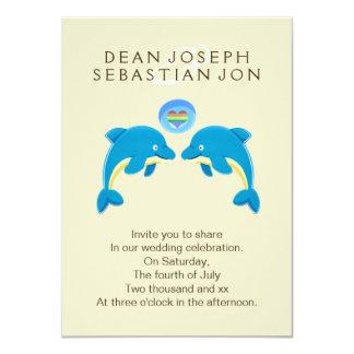 Delfínes gay y boda de la burbuja del corazón del invitación 11,4 x 15,8 cm