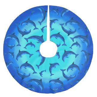 Delfínes juguetones debajo de la falda tropical falda para el árbol de navidad
