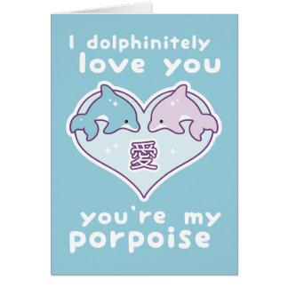 Delfínes lindos de la tarjeta del día de San