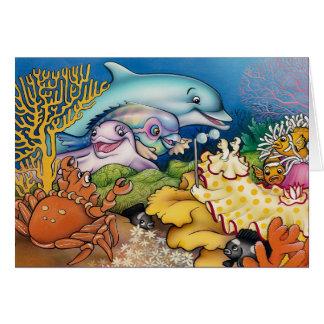 Delfínes y amigos tarjeta de felicitación