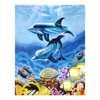 Delfínes y arte tropical de los pescados tarjeton
