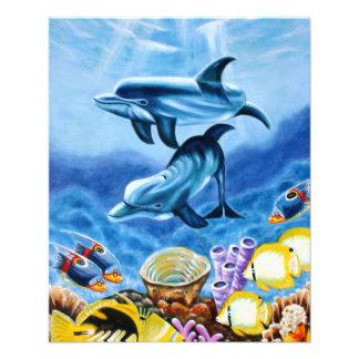 Delfínes y arte tropical de los pescados folleto 11,4 x 14,2 cm