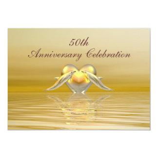 Delfínes y corazón de oro del aniversario invitación 12,7 x 17,8 cm