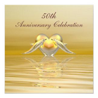 Delfínes y corazón de oro del aniversario invitación 13,3 cm x 13,3cm