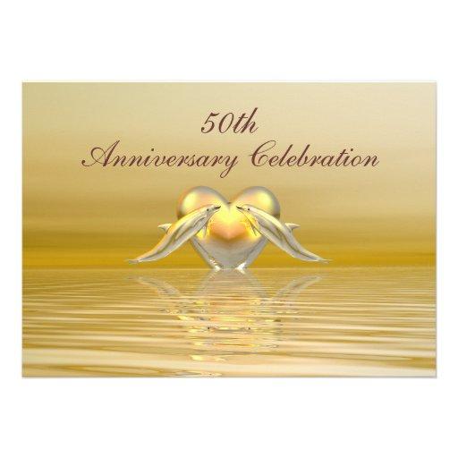 Delfínes y corazón de oro del aniversario comunicado personal