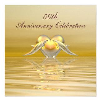 Delfínes y corazón de oro del aniversario comunicados personalizados