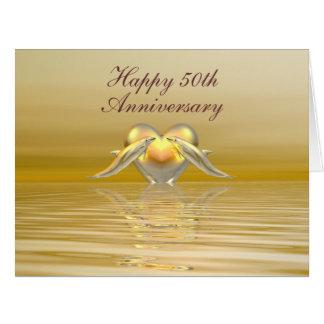 Delfínes y corazón de oro del aniversario tarjeta de felicitación grande