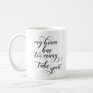 Demasiadas etiquetas abren la taza de café - negro