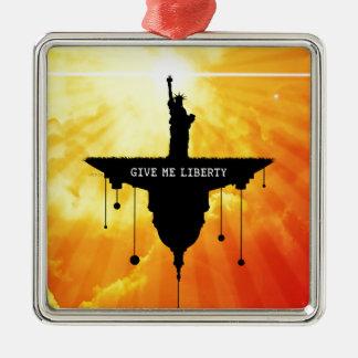 Déme la libertad adorno navideño cuadrado de metal