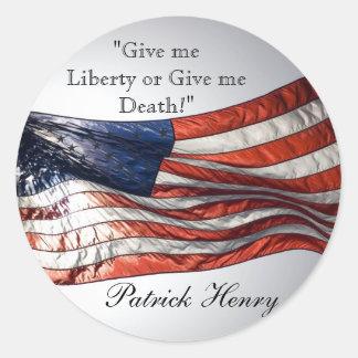 Déme la libertad o déme la muerte Patrick Henry Pegatina Redonda