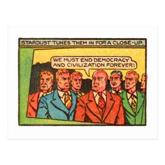 Democracia cómica del final de los chicos malos de postal