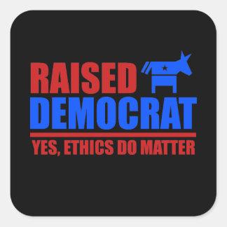 Demócrata criado. Los éticas importan sí Pegatina Cuadrada