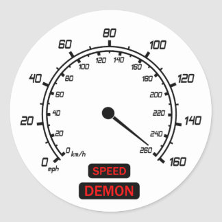Demonio de velocidad pegatina redonda