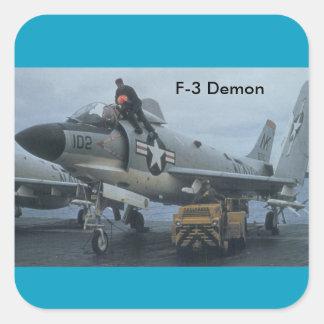 demonio f-3 pegatina cuadrada