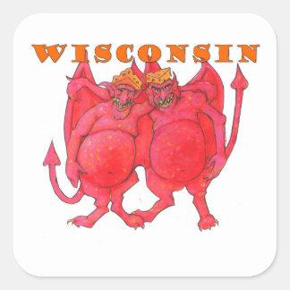 Demonios de Wisconsin Cheesehead Pegatina Cuadrada